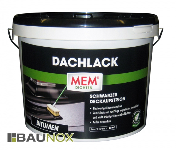 MEM Dacklack ist der schwarze Deckaufstrich für verwitterte und leicht brüchige Bitumendachbahnen