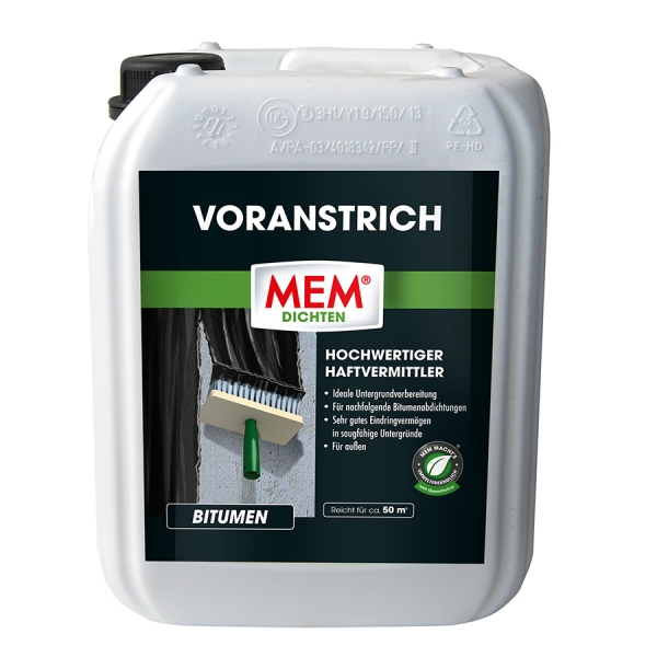 MEM VORANSTRICH ist die ideale Untergrundvorbereitung für Bitumenabdichtungen - 5 Liter