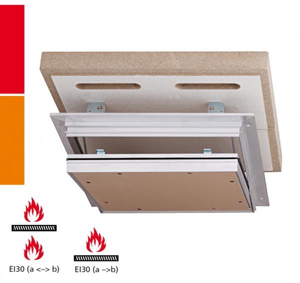 Alumatic F/EI30 Revisionsklappe für Montage in selbstständige Brandschutzunterdecken