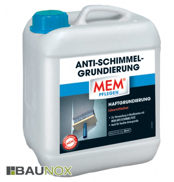 MEM ANTI-SCHIMMEL-GRUNDIERUNG - Haftgrundierung bei Neuverputzung gegen Schimmel - 5 Liter