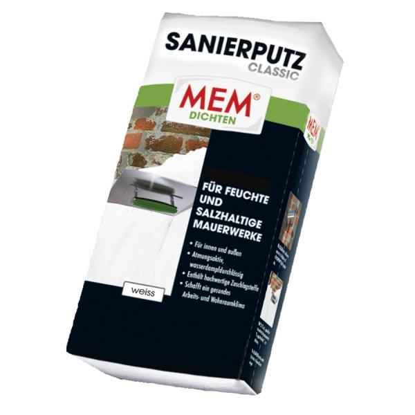 MEM SANIERPUTZ CLASSIC atmungsakticer, wasserdampfdurchlässiger Sanierputz - weiss