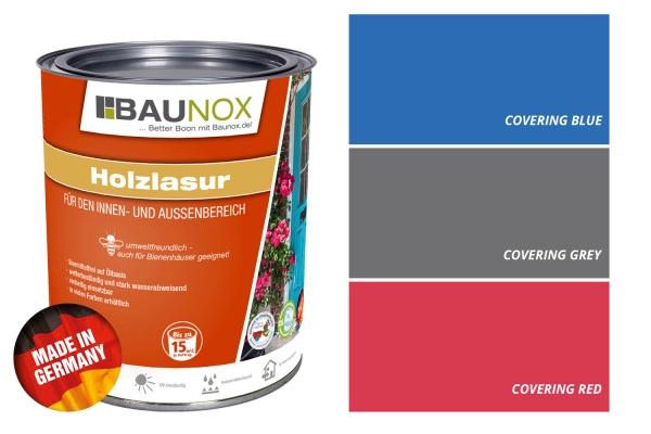 """Baunox Holzlasur """"Contemporary"""" - deckend in 3 verschiedenen Farbtönen - umweltfreundlich für Innen - und Aussen"""