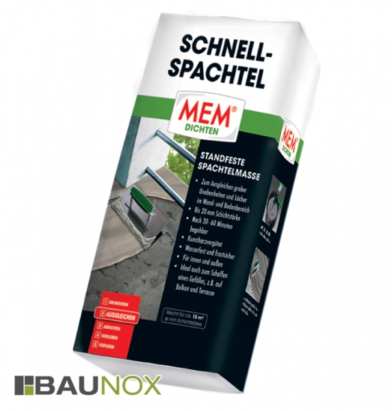 MEM SCHNELL-SPACHTEL ist der schnelle und standfeste Reparaturmörtel