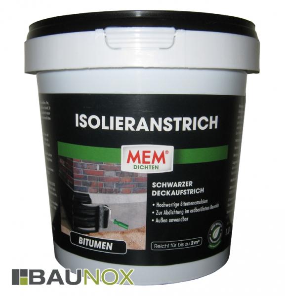 MEM ISOLIERANSTRICH - schwarzer Deckaufstrich gegen Bodenfeuchtigkeit - 1 Liter