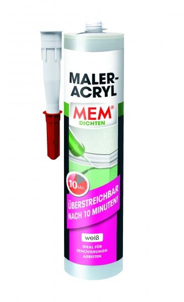 MEM MALER-ACRYL in weiß für fast alle Untergründe und nach 10 Minuten überstreichbar