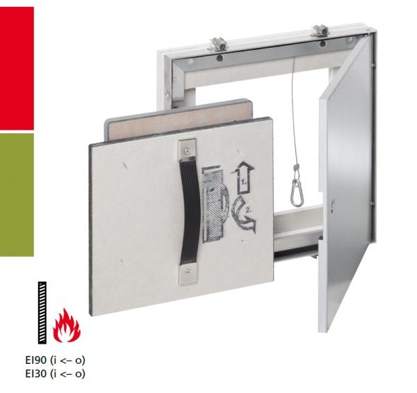 AluRapid® Safe EI/I30 oder EI/I90 Revisionstür für Montage in Schachtwandsysteme, Installationsschachtwände, Vorsatzschalen oder Massivwände
