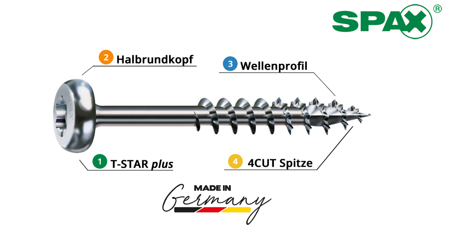 Spax_Universalschrauben_Holzschrauben_Halbrundkopf_Metallbeschlaege_WIROX_Eigenschaft_Baunox_TG1
