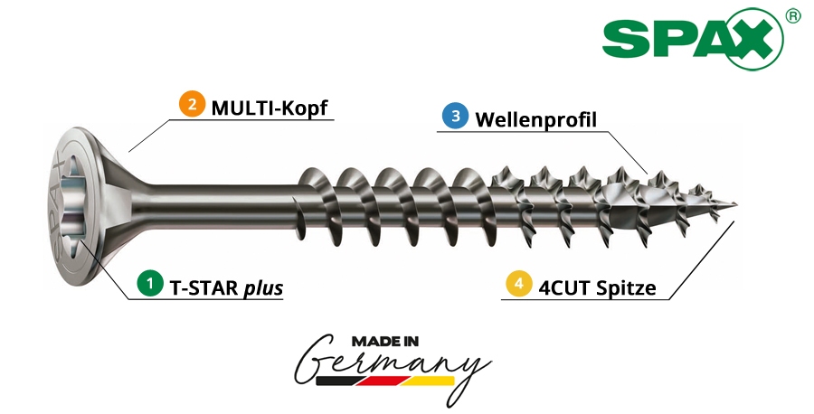 Spax_Edelstahlschrauben_Senkkopf_rostfrei_A2_Teilgewinde_T-Star_plus_Wellenprofil_4CUT_Multikopf